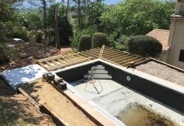 En cours / terrasse bois suspendue autour piscine su la Motte